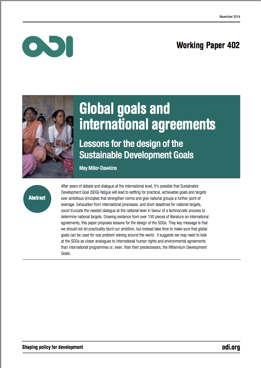 Global Goals And International Agreements May Miller Dawkins